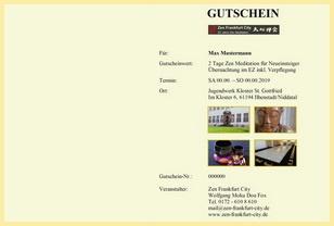 Geschenkgutscheine Zen Meditation im Kloster Frankfurt